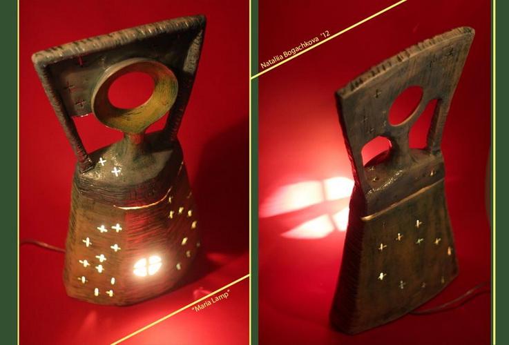 авторские керамические лампы, необычный дизайн интерьера, богачкова ,свет, украинские жещины, мария, лампа гончарная, кресты, рождество